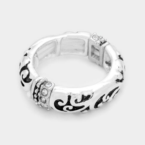 Crystal Detail Embossed Metal Filigree Stretch Ring - Shining Bee