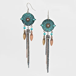 Filigree Boho Seed Spike Tassel Dangle Earrings Patina Verdigris - Shining Bee