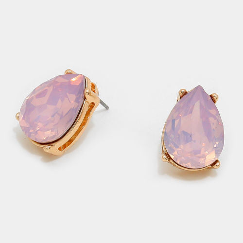 Gemstone Opal Teardrop Stud Earrings - Light Pink Opal - Shining Bee