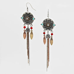 Filigree Boho Seed Spike Tassel Dangle Earrings Turquoise Copper - Shining Bee