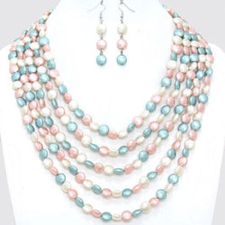 Shining Bee Trendy Multi Layered Baroque Pearl Necklace/Earring Set