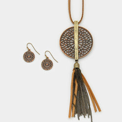 Metal Cut Out Disc Faux Suede Tassel Long Necklace/Earrings Peach