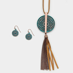 Metal Cut Out Disc Faux Suede Tassel Long Necklace/Earrings Turquoise