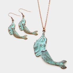 Shining Bee Trendy Metal Mermaid Pendant Long Necklace/Earrings Patina Verdigris