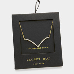 Cubic Zirconia Gold Necklace with Secret Box Gold Dipped - Shining Bee