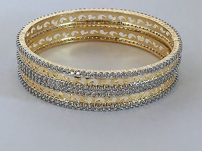 Shining Bee Fashion Jewelry Set of Two Simulated Diamond Bangles D-20 - Shining Bee