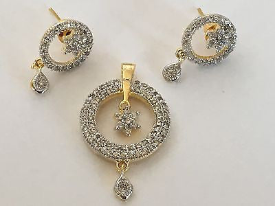 Shining Bee Fashion Jewelry Imitation Diamond Pendant & Earring Set P-5 - Shining Bee