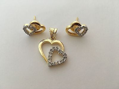 Shining Bee Fashion Jewelry Heart Shaped Pendant & Earring Set P-8 - Shining Bee