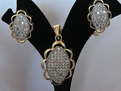 Shining Bee Fashion Jewelry Imitation Diamond Pendant & Earring Set P-10 - Shining Bee