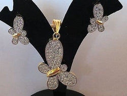 Shining Bee Fashion Jewelry Imitation Diamond Butterfly Pendant/Earring Set P-9 - Shining Bee