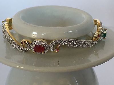 Shining Bee High End Fashion Jewelry Simulated Diamond/Emerald/Ruby Bangle D-5 - Shining Bee