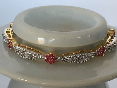 Shining Bee High End Fashion Jewelry Simulated Diamond/Ruby Bangle D-7 - Shining Bee