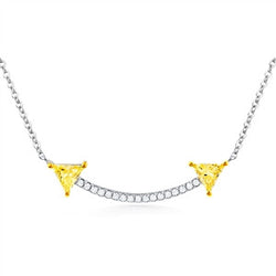 Arrow - Silver Necklace With Yellow and White CZ - Shining Bee