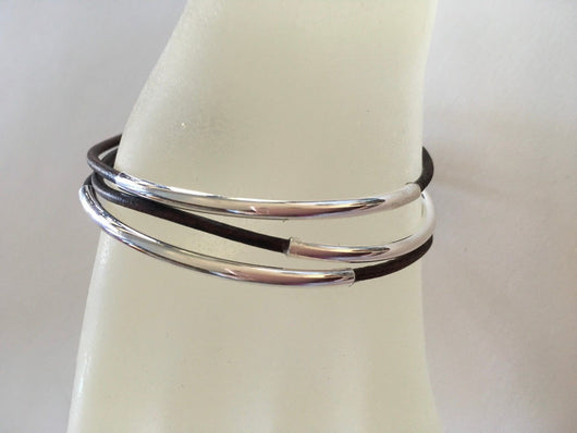 Boho style leather bangles with curved silver tube beads - set of 10 - Shining Bee