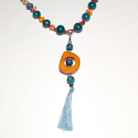 Acai Seed Bead Necklace with Tagua Nut Slice Pendant 22