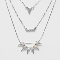 Pearl & Crystal Spike Necklace/Earrings Set