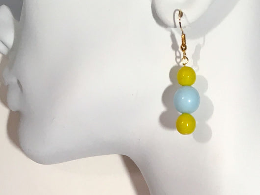 Blue and Chartreuse Beaded Earrings - Shining Bee