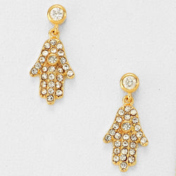 Cubic Zirconia and Crystal Hamsa Hand Gold Plated Earrings