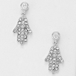 Cubic Zirconia and Crystal Hamsa Hand White Gold Plated Earrings