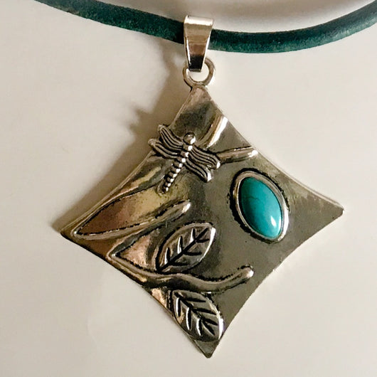 Dragonfly Turquoise Resin Pendant on European Leather Cord 24