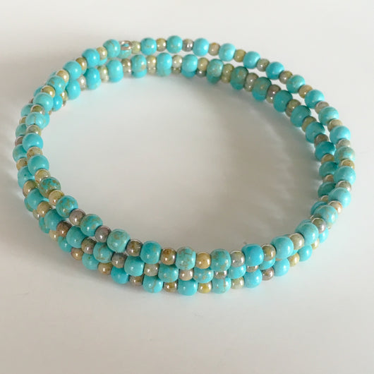 Mini Bead Memory Wire Triple Wrap Bracelet