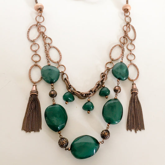 Boho Style Necklace with chain tassels and green accents on braided leather cord - Shining Bee
