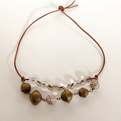 Boho Style Necklace with bead accents on brown leather cord - Shining Bee