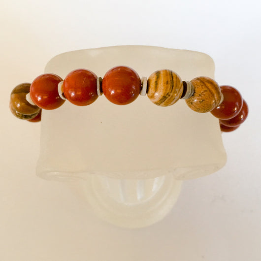 Designer Quality Red and Natural Jasper Bead Memory Wire Bracelet - Shining Bee