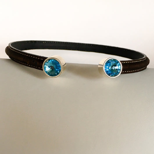 Portuguese Cork Choker w/Aquamarine Swarovski(TM) Crystal Elements ends