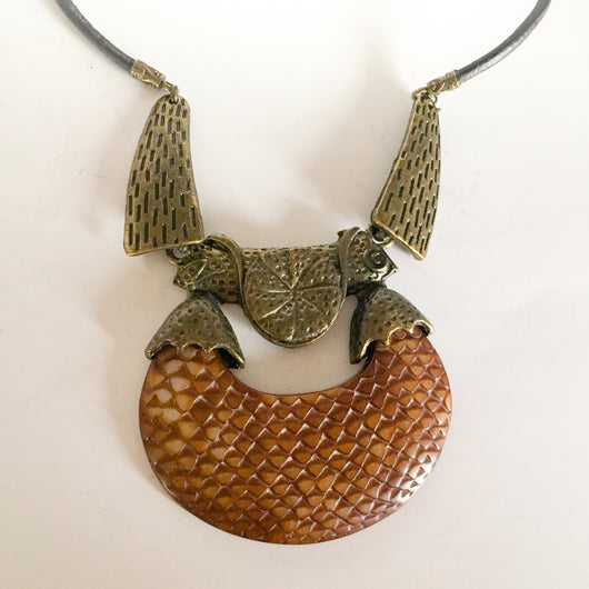 Large Vintage Lucite Bronze Tribal Ethnic Pendant/Leather Necklace - Shining Bee