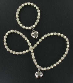 Pearl Bead & Heart Set Cream