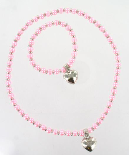 Pearl Bead & Heart Set Pink