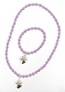 Pearl Bead & Heart Set Purple