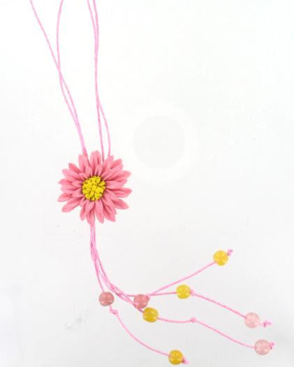 Leather Flower Necklace Pink