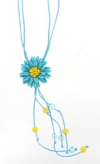Leather Flower Necklace Turquoise