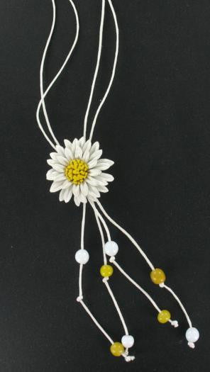Leather Flower Necklace White