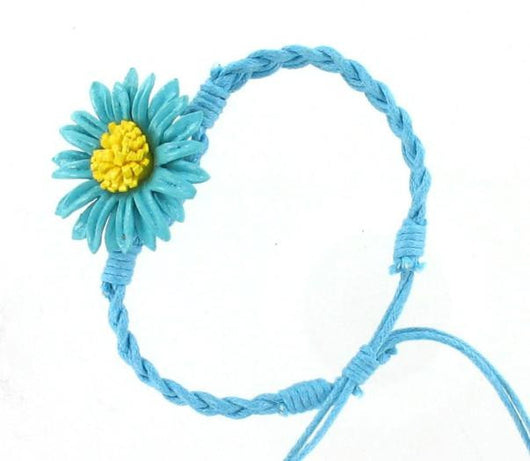 Leather Flower Bracelet Turquoise - Shining Bee