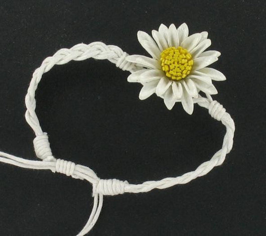 Leather Flower Bracelet White - Shining Bee