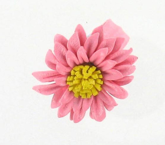 Leather Flower Ring Pink