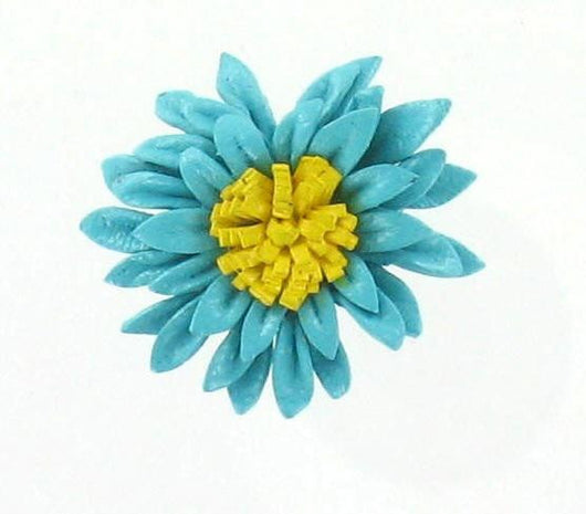 Leather Flower Ring Turquoise