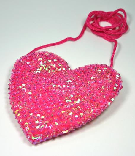 Sequin Heart Bag Pink