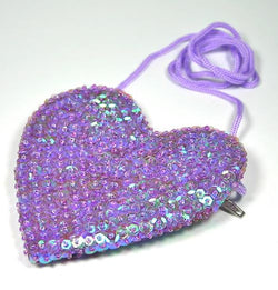 Sequin Heart Bag Purple