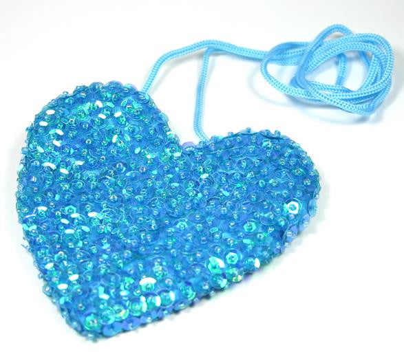 Sequin Heart Bag Turquoise