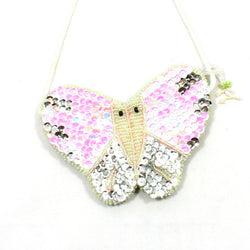 Sequin Butterfly Bag White