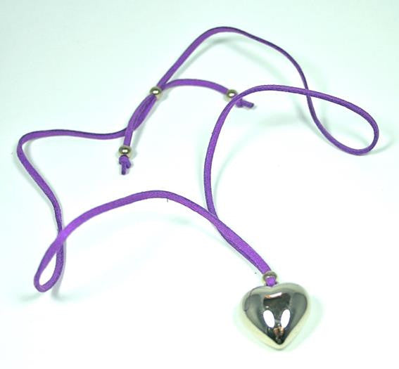 Heart on Suede Necklace Purple