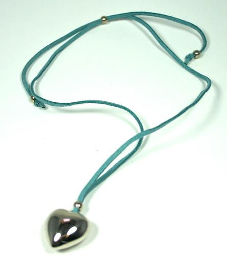 Heart on Suede Necklace Turquoise