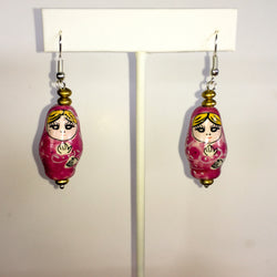 Matryoshka Hand Painted Porcelain Russian Nesting Doll Earrings Pink or Blue