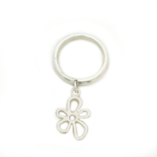 Open Flower Charm on Ring