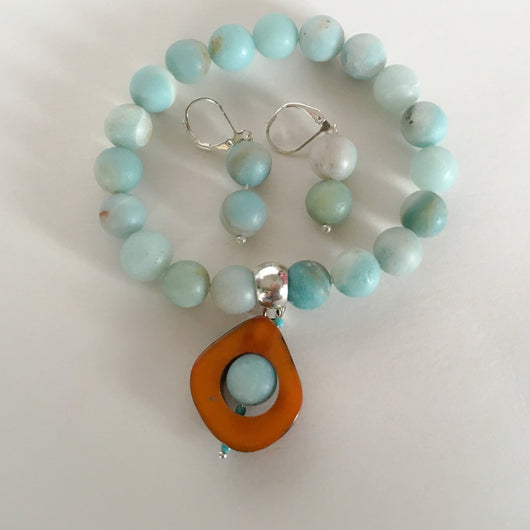 Amazonite Bracelet and Earrings Set Aqua with Tagua Nut Slice Pendant - Shining Bee