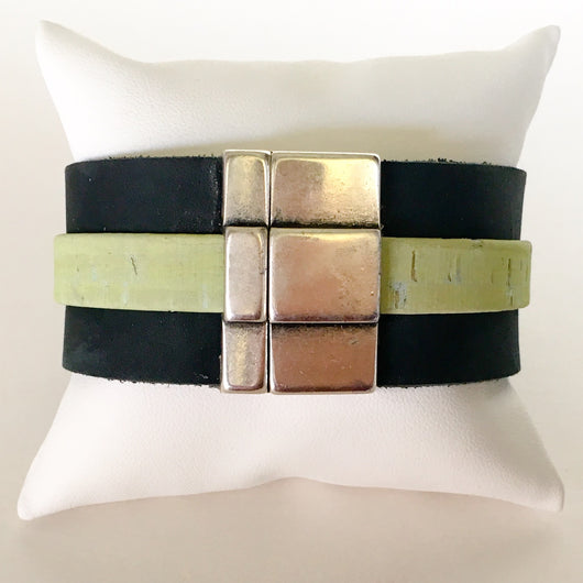 Extra Wide Matte Black Leather and Sage Portuguese Cork Wristband - Shining Bee